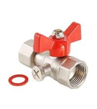Кран латунный шаровой VALTEC для подключения  манометра 15 В-В VT.807.N.0404