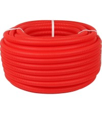 Труба гофрированная 50мм (для труб Ду32) красная (бухта 100м)
