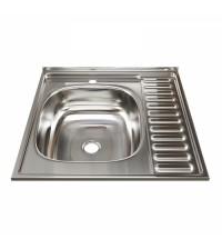 Мойка для кухни из нержавеющей стали MIXLINE 60 х 60 (0,4) выпуск 1 1/2 16 см квадратная левая 527967