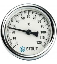 Термометр биметаллический STOUT с гильзой DN 63 0-120°С G 1/2
