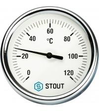 Термометр биметаллический с гильзой STOUT DN 63 (0-120°С), G 1/.2