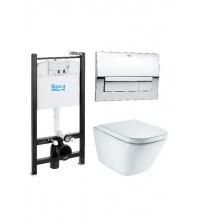 Комплект инсталляции с унитазом Roca The Gap безободковый с крышкой - сиденьем микролифт и кнопкой смыва 893104100
