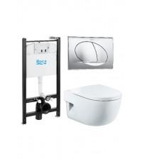 Комплект инсталляции с унитазом Roca Pack Meridian Compact с кнопкой и сиденьем 893104110