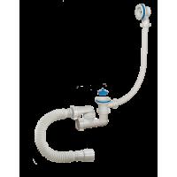 Сифон Аврора для ванны регулируемый с пластик решетками D 70 мм переливом и гибкой трубой 40-50 АВ-600821