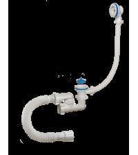 Сифон ОРИО Аврора для ванны регулируемый с пластик решетками D 70 мм переливом и гибкой трубой 40-50 АВ-600821