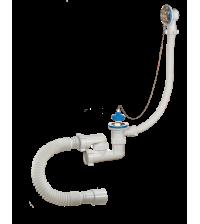 Сифон Аврора для ванны регулируемый с нержавеющими решетками D 70 мм переливом и гибкой трубой 40-50 АВ-800821